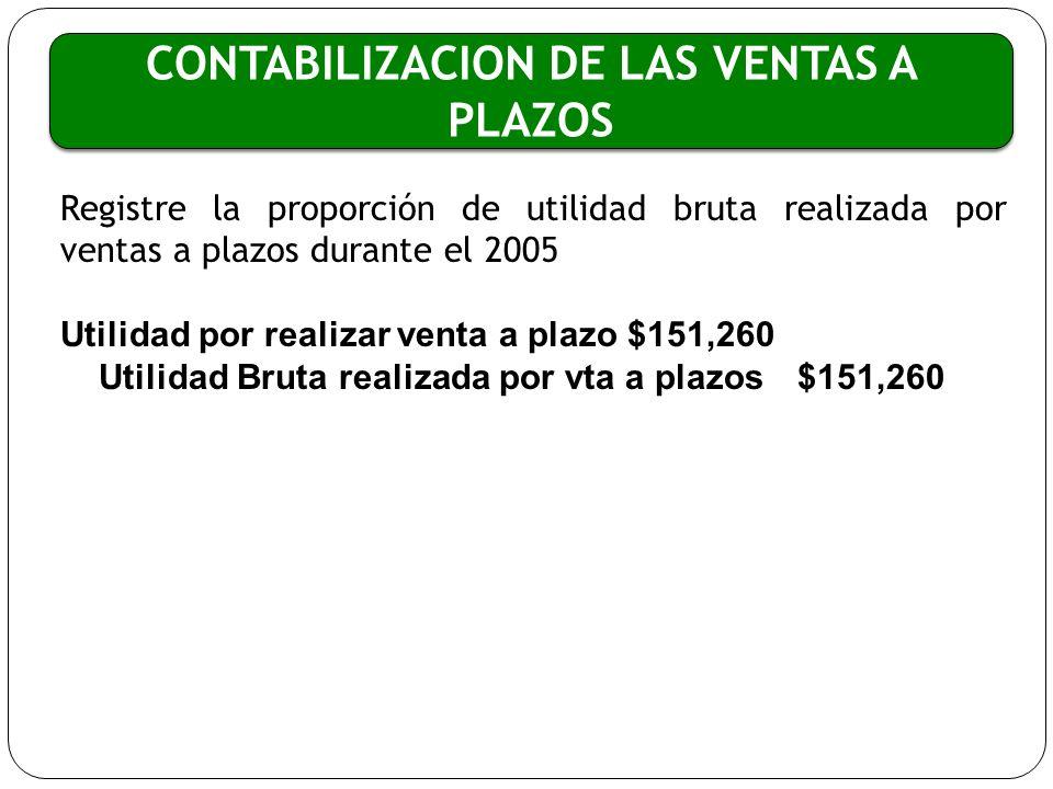 CONTABILIZACION DE LAS VENTAS A PLAZOS Registre la proporción de utilidad bruta realizada por ventas a plazos durante el 2005 Utilidad por realizar ve