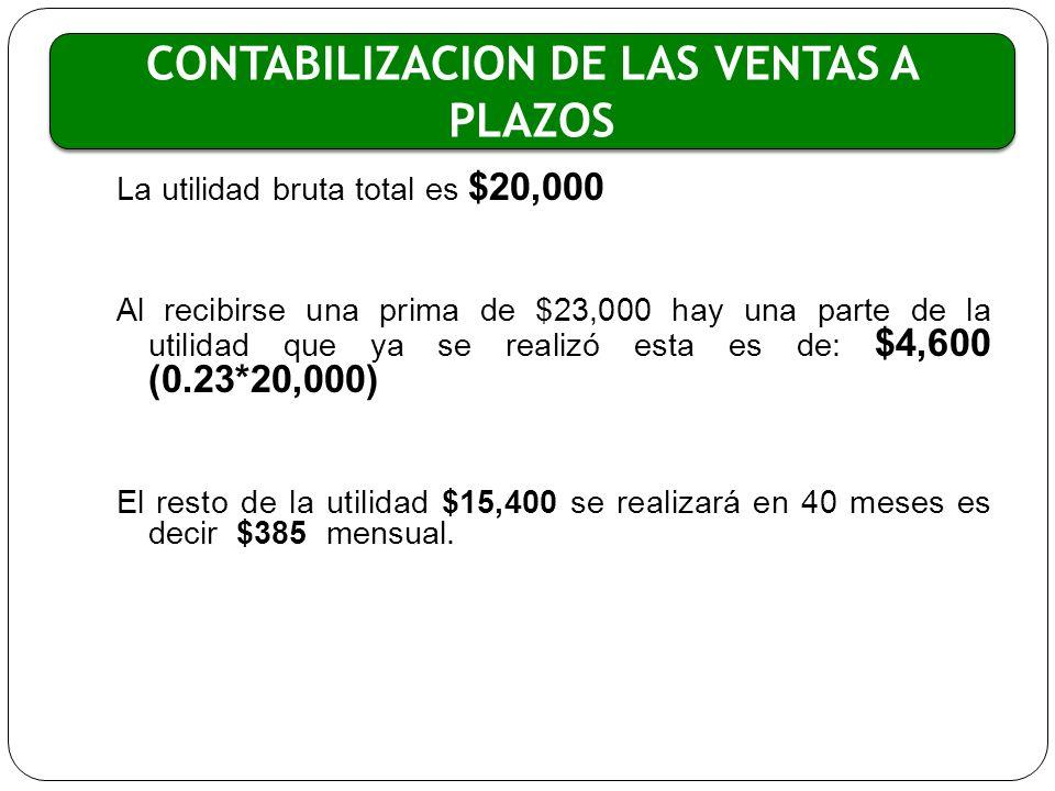 La utilidad bruta total es $20,000 Al recibirse una prima de $23,000 hay una parte de la utilidad que ya se realizó esta es de: $4,600 (0.23*20,000) E