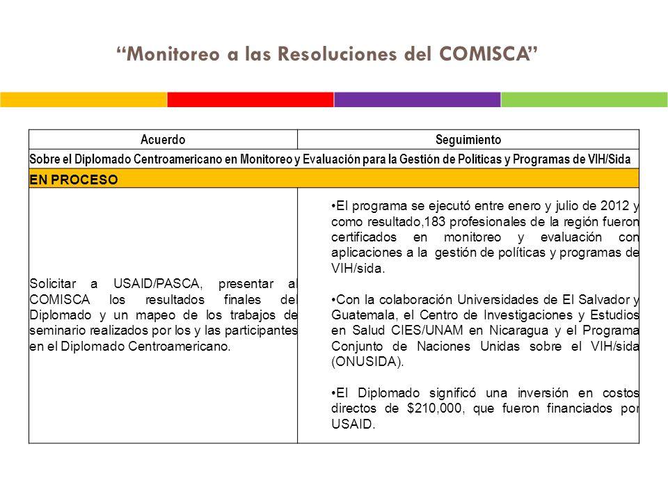 Monitoreo a las Resoluciones del COMISCA AcuerdoSeguimiento Sobre el informe de Gestión de la SE COMISCA enero a mayo 2012.