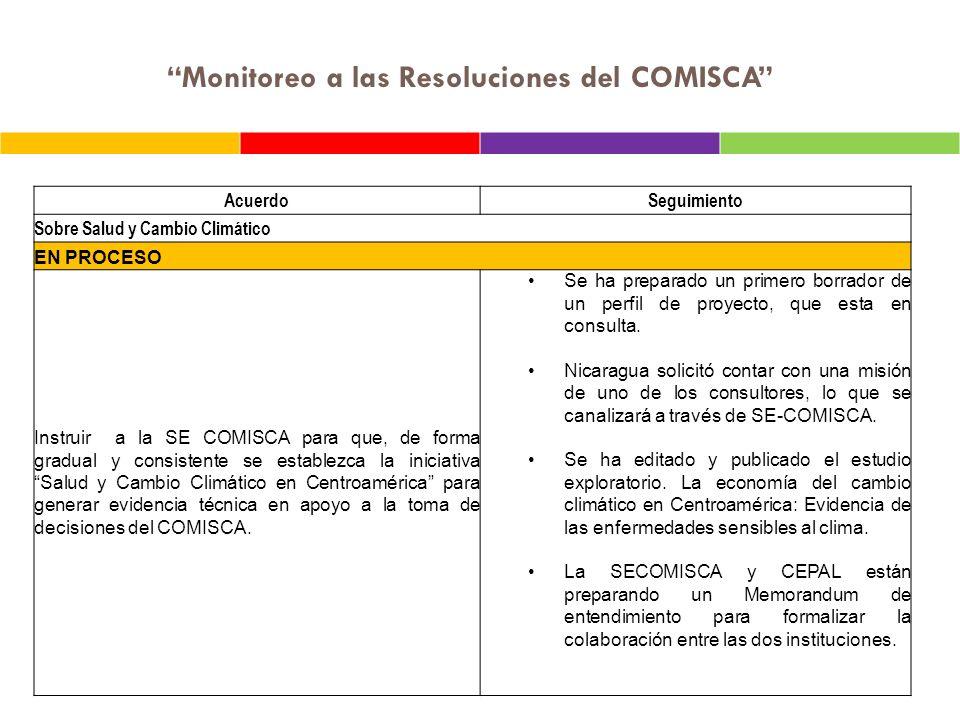 Monitoreo a las Resoluciones del COMISCA AcuerdoSeguimiento Sobre Salud y Cambio Climático EN PROCESO Instruir a la SE COMISCA para que, de forma grad