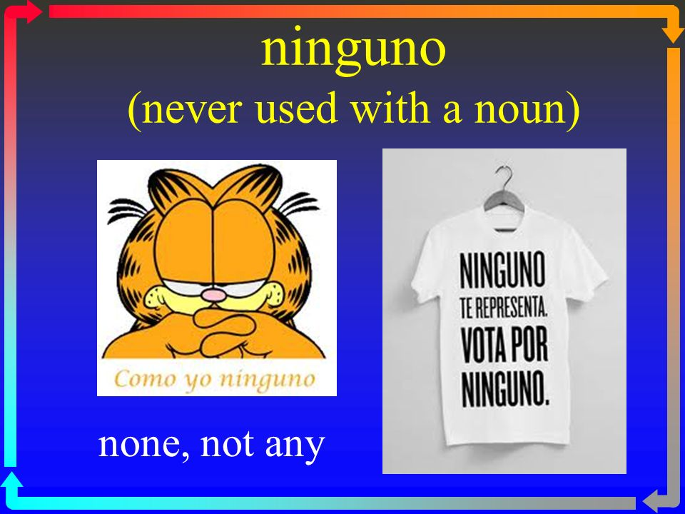 ninguno (never used with a noun) none, not any