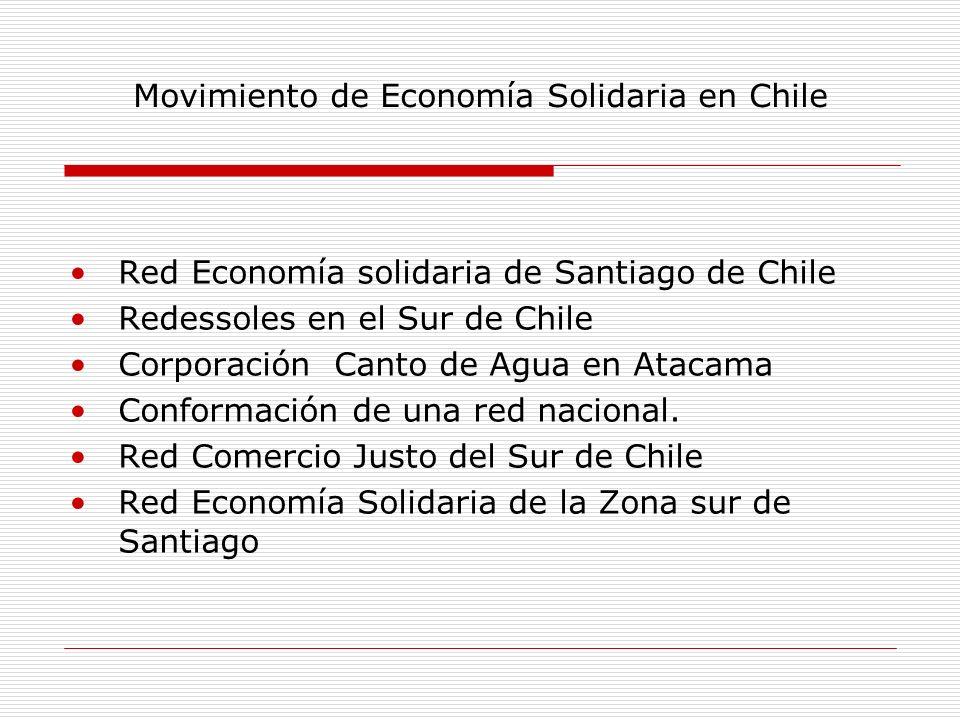 Red Economía solidaria de Santiago de Chile Redessoles en el Sur de Chile Corporación Canto de Agua en Atacama Conformación de una red nacional. Red C
