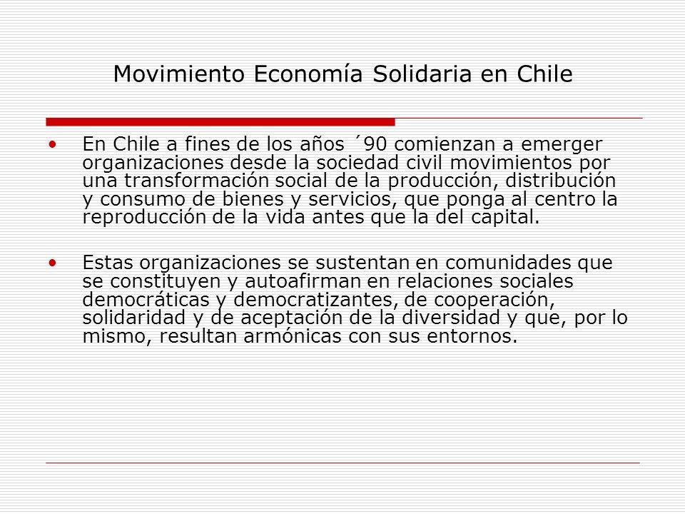 Movimiento Economía Solidaria en Chile En Chile a fines de los años ´90 comienzan a emerger organizaciones desde la sociedad civil movimientos por una
