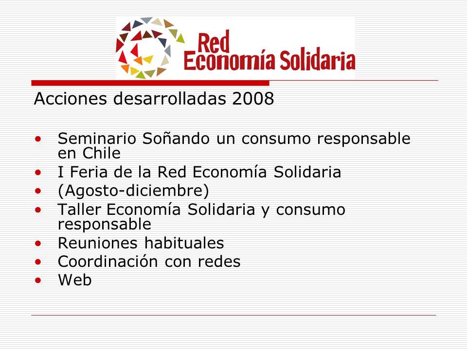 Acciones desarrolladas 2008 Seminario Soñando un consumo responsable en Chile I Feria de la Red Economía Solidaria (Agosto-diciembre) Taller Economía