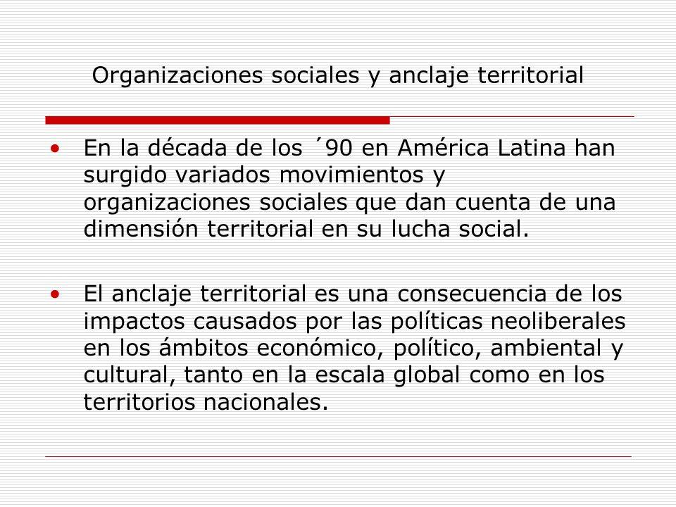 Organizaciones sociales y anclaje territorial En la década de los ´90 en América Latina han surgido variados movimientos y organizaciones sociales que