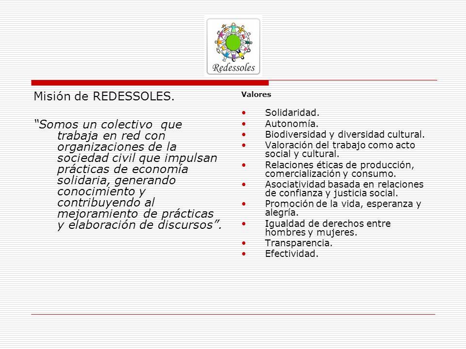 Misión de REDESSOLES. Somos un colectivo que trabaja en red con organizaciones de la sociedad civil que impulsan prácticas de economía solidaria, gene