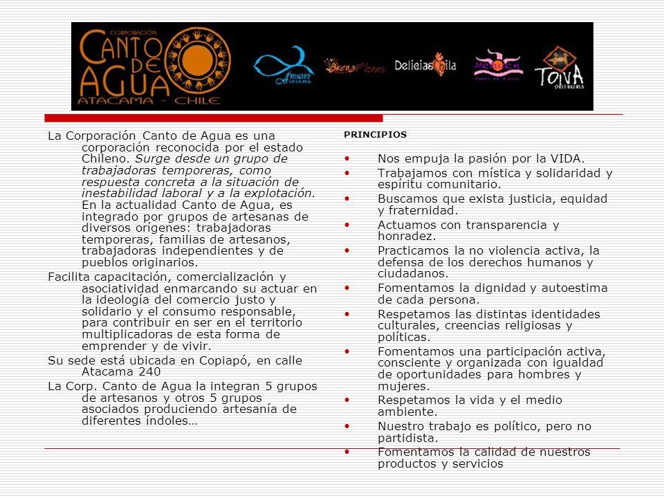 La Corporación Canto de Agua es una corporación reconocida por el estado Chileno. Surge desde un grupo de trabajadoras temporeras, como respuesta conc