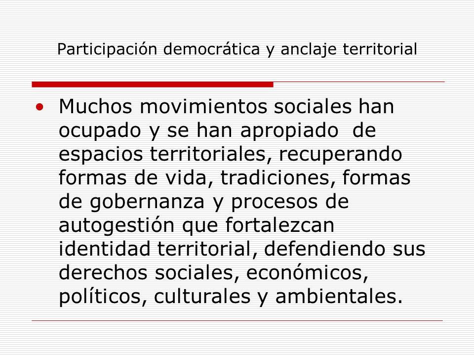 Participación democrática y anclaje territorial Muchos movimientos sociales han ocupado y se han apropiado de espacios territoriales, recuperando form