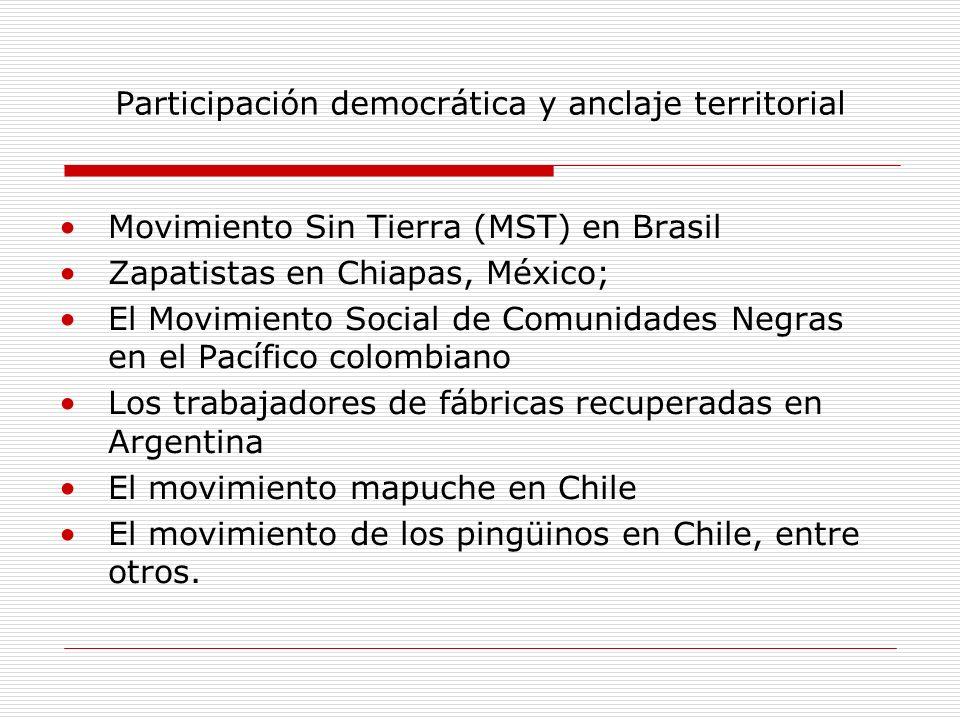 Participación democrática y anclaje territorial Movimiento Sin Tierra (MST) en Brasil Zapatistas en Chiapas, México; El Movimiento Social de Comunidad