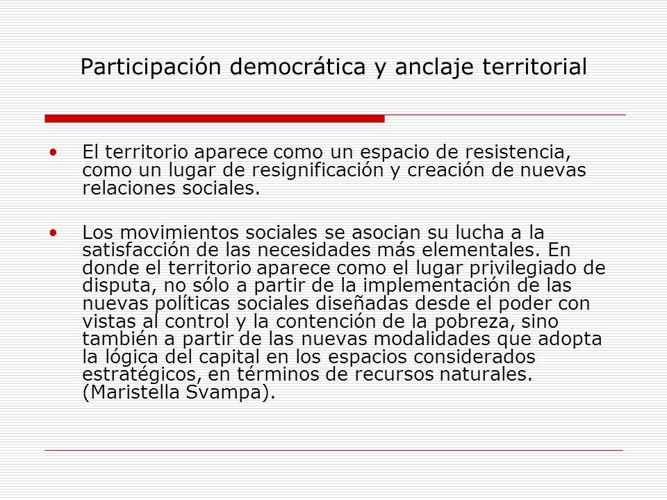 Participación democrática y anclaje territorial El territorio aparece como un espacio de resistencia, como un lugar de resignificación y creación de n