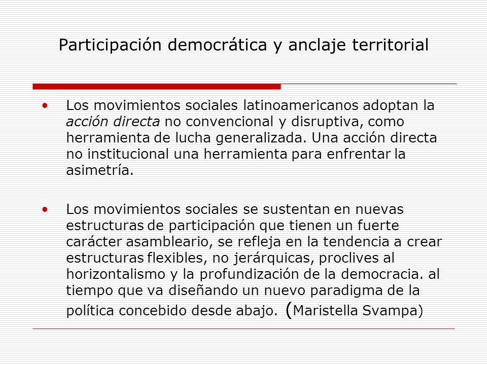 Participación democrática y anclaje territorial Los movimientos sociales latinoamericanos adoptan la acción directa no convencional y disruptiva, como