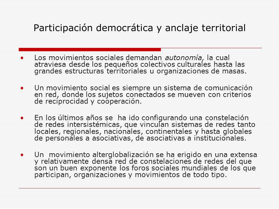 Participación democrática y anclaje territorial Los movimientos sociales demandan autonomía, la cual atraviesa desde los pequeños colectivos culturale
