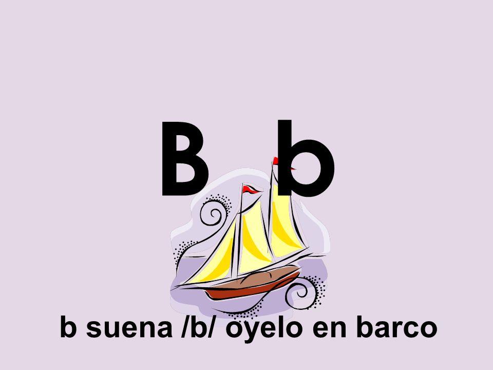 B b b suena /b/ oyelo en barco