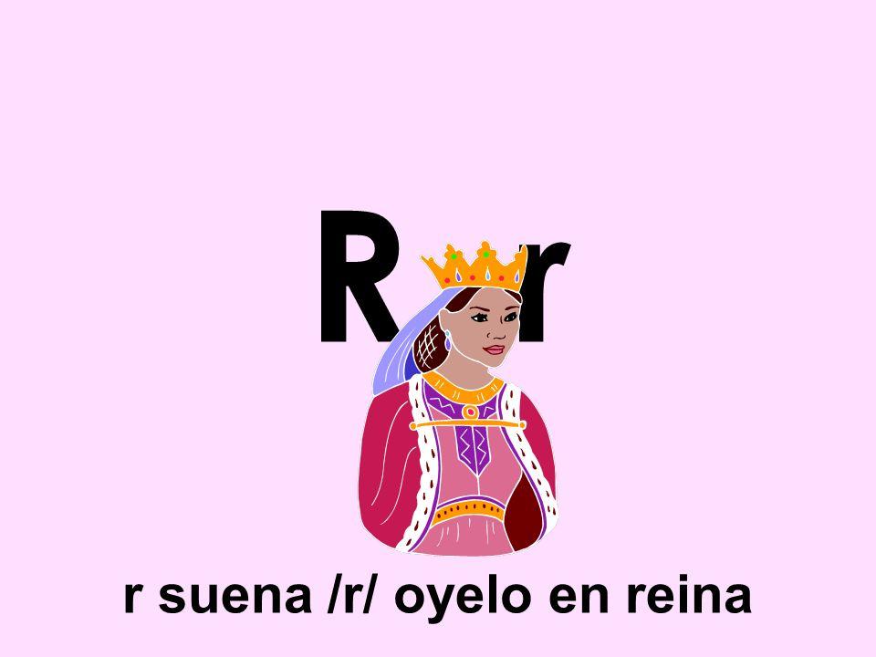 R r r suena /r/ oyelo en reina