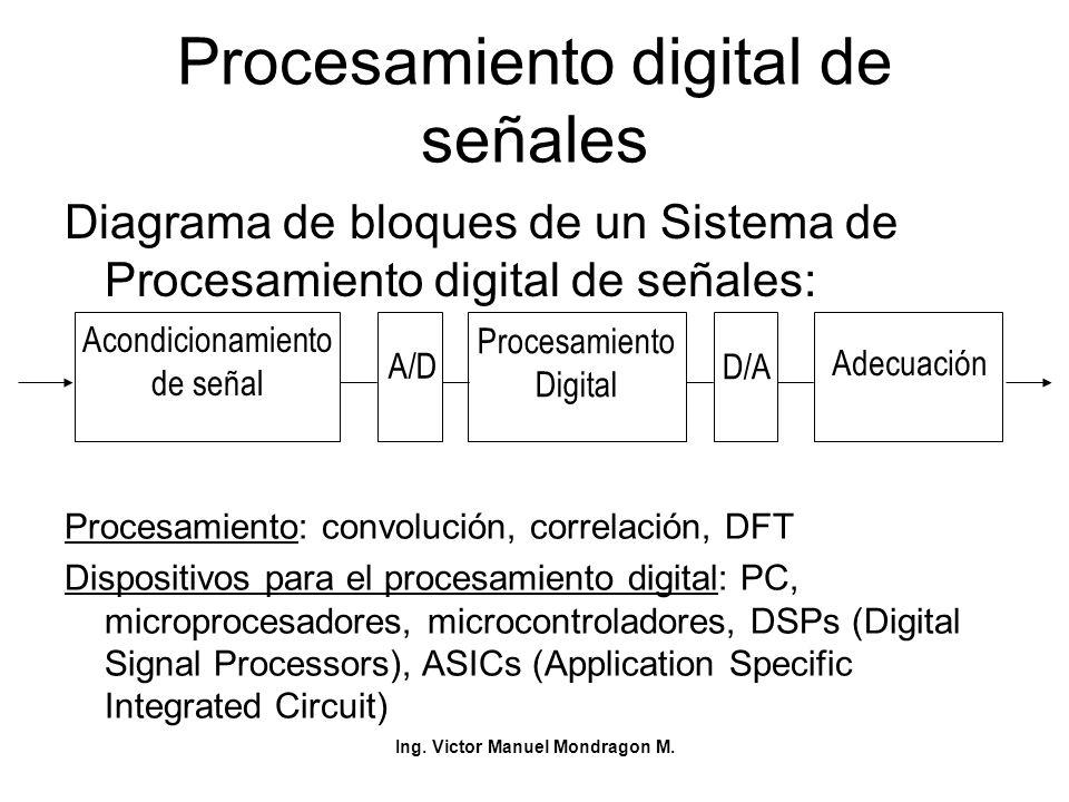 Ing. Victor Manuel Mondragon M. Procesamiento digital de señales Diagrama de bloques de un Sistema de Procesamiento digital de señales: Acondicionamie