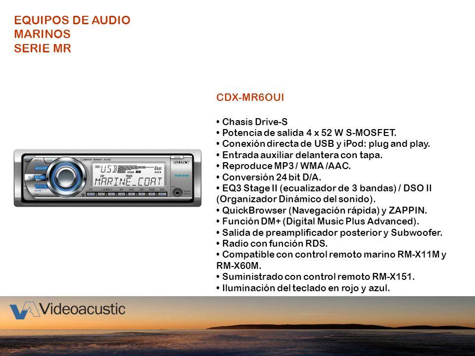 CDX-MR6OUI Chasis Drive-S Potencia de salida 4 x 52 W S-MOSFET. Conexión directa de USB y iPod: plug and play. Entrada auxiliar delantera con tapa. Re