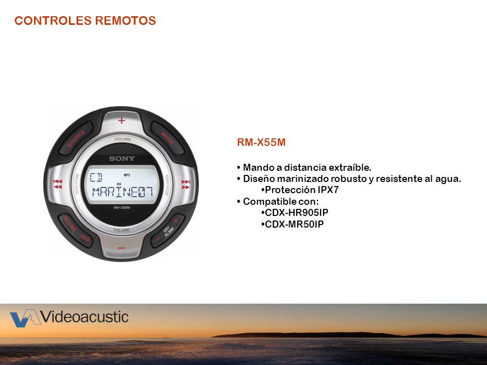 CONTROLES REMOTOS RM-X55M Mando a distancia extraíble. Diseño marinizado robusto y resistente al agua. Protección IPX7 Compatible con: CDX-HR905IP CDX