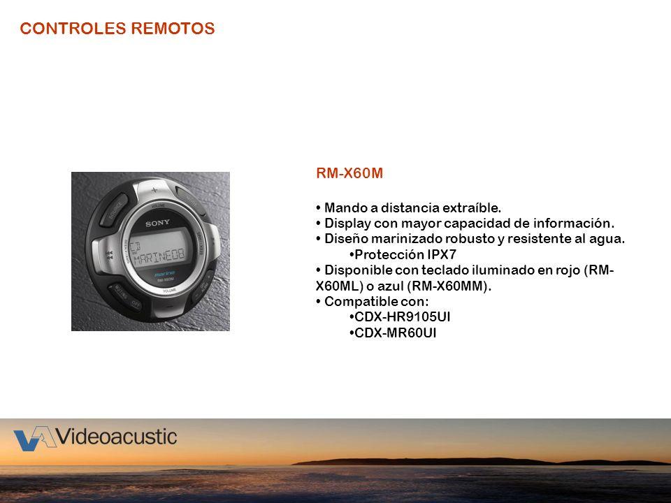 CONTROLES REMOTOS RM-X60M Mando a distancia extraíble. Display con mayor capacidad de información. Diseño marinizado robusto y resistente al agua. Pro