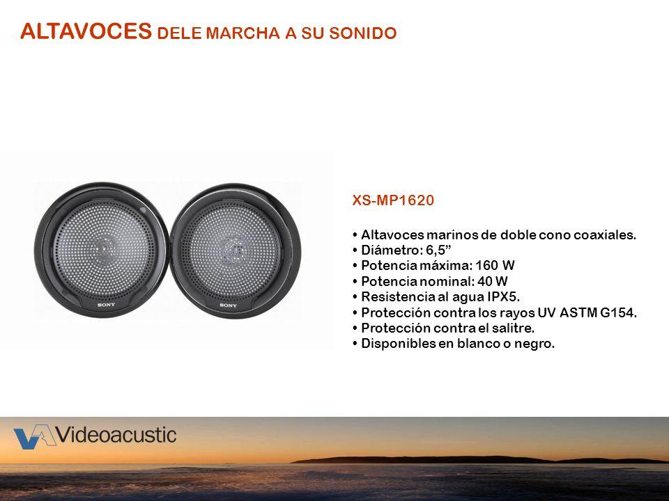 ALTAVOCES DELE MARCHA A SU SONIDO XS-MP1620 Altavoces marinos de doble cono coaxiales. Diámetro: 6,5 Potencia máxima: 160 W Potencia nominal: 40 W Res