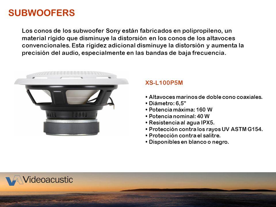 SUBWOOFERS XS-L100P5M Altavoces marinos de doble cono coaxiales. Diámetro: 6,5 Potencia máxima: 160 W Potencia nominal: 40 W Resistencia al agua IPX5.