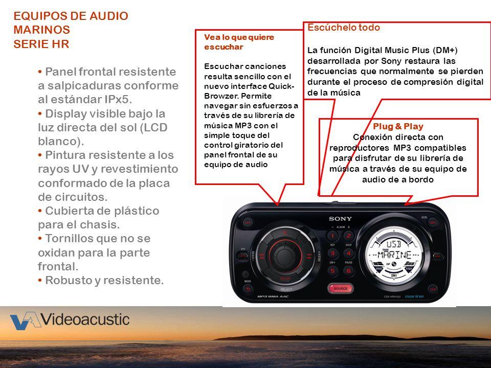 EQUIPOS DE AUDIO MARINOS SERIE HR Panel frontal resistente a salpicaduras conforme al estándar IPx5. Display visible bajo la luz directa del sol (LCD