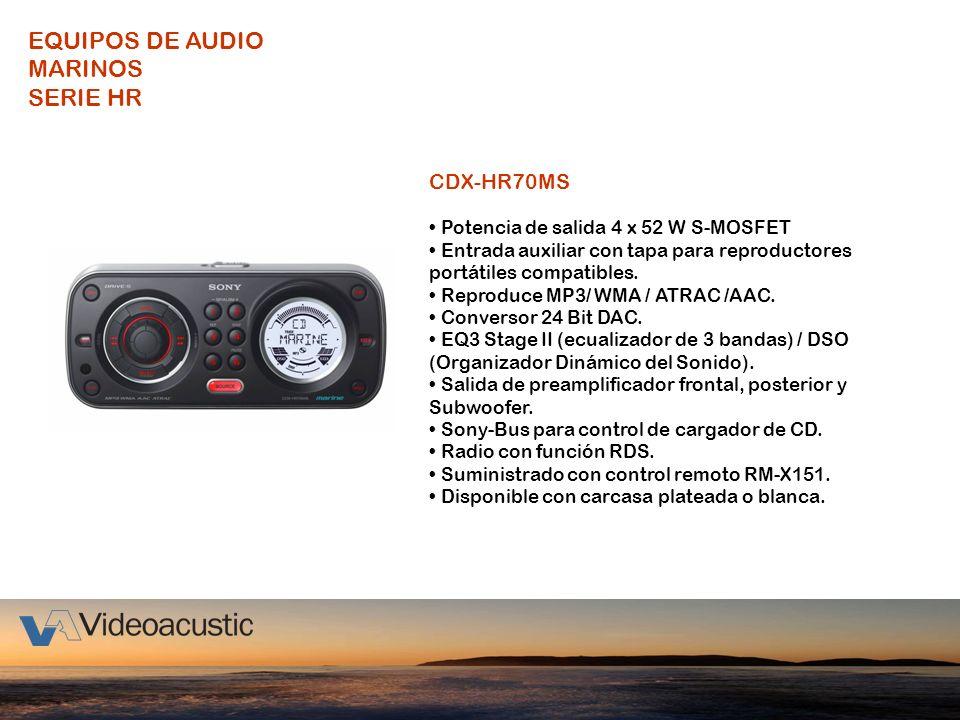 EQUIPOS DE AUDIO MARINOS SERIE HR CDX-HR70MS Potencia de salida 4 x 52 W S-MOSFET Entrada auxiliar con tapa para reproductores portátiles compatibles.