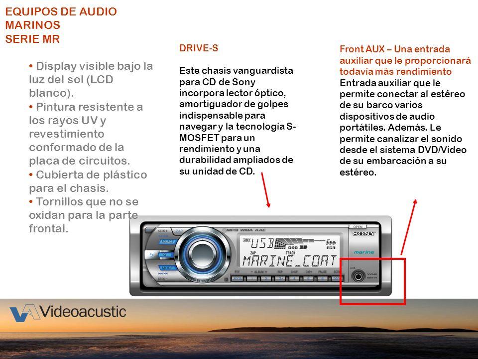 EQUIPOS DE AUDIO MARINOS SERIE MR Display visible bajo la luz del sol (LCD blanco). Pintura resistente a los rayos UV y revestimiento conformado de la