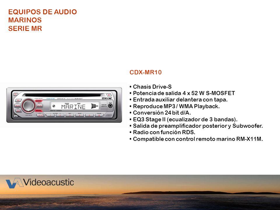 CDX-MR10 Chasis Drive-S Potencia de salida 4 x 52 W S-MOSFET Entrada auxiliar delantera con tapa. Reproduce MP3 / WMA Playback. Conversión 24 bit d/A.