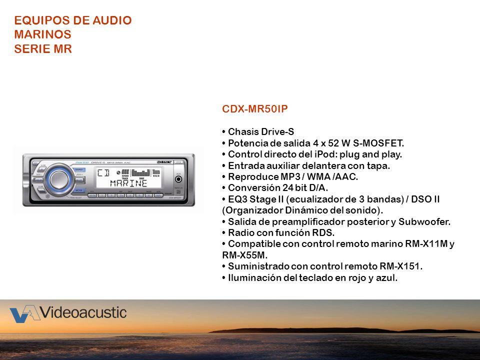 CDX-MR50IP Chasis Drive-S Potencia de salida 4 x 52 W S-MOSFET. Control directo del iPod: plug and play. Entrada auxiliar delantera con tapa. Reproduc