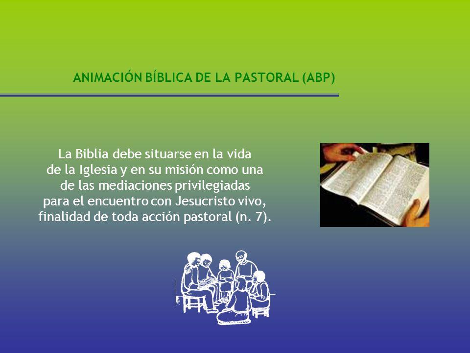 ANIMACIÓN BÍBLICA DE LA PASTORAL (ABP) La Biblia debe situarse en la vida de la Iglesia y en su misión como una de las mediaciones privilegiadas para