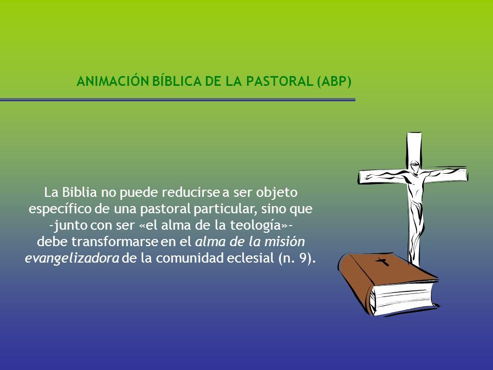 ANIMACIÓN BÍBLICA DE LA PASTORAL (ABP) La Biblia no puede reducirse a ser objeto específico de una pastoral particular, sino que -junto con ser «el al