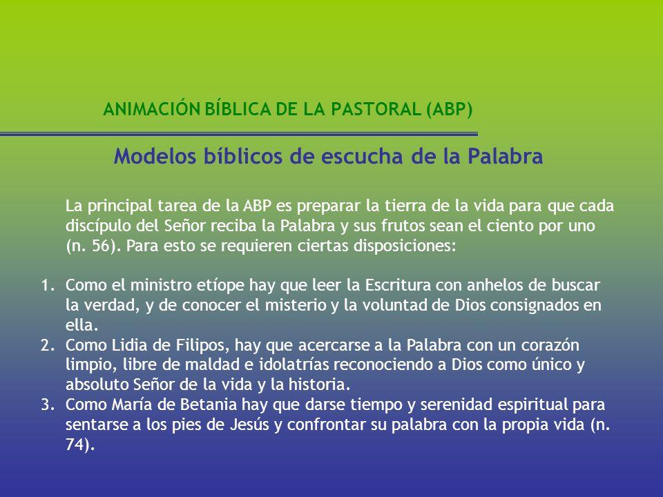 ANIMACIÓN BÍBLICA DE LA PASTORAL (ABP) Modelos bíblicos de escucha de la Palabra La principal tarea de la ABP es preparar la tierra de la vida para qu