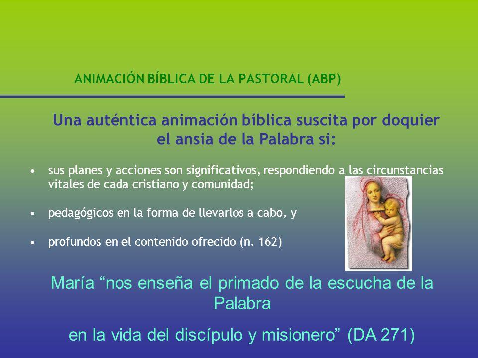 ANIMACIÓN BÍBLICA DE LA PASTORAL (ABP) Una auténtica animación bíblica suscita por doquier el ansia de la Palabra si: sus planes y acciones son signif