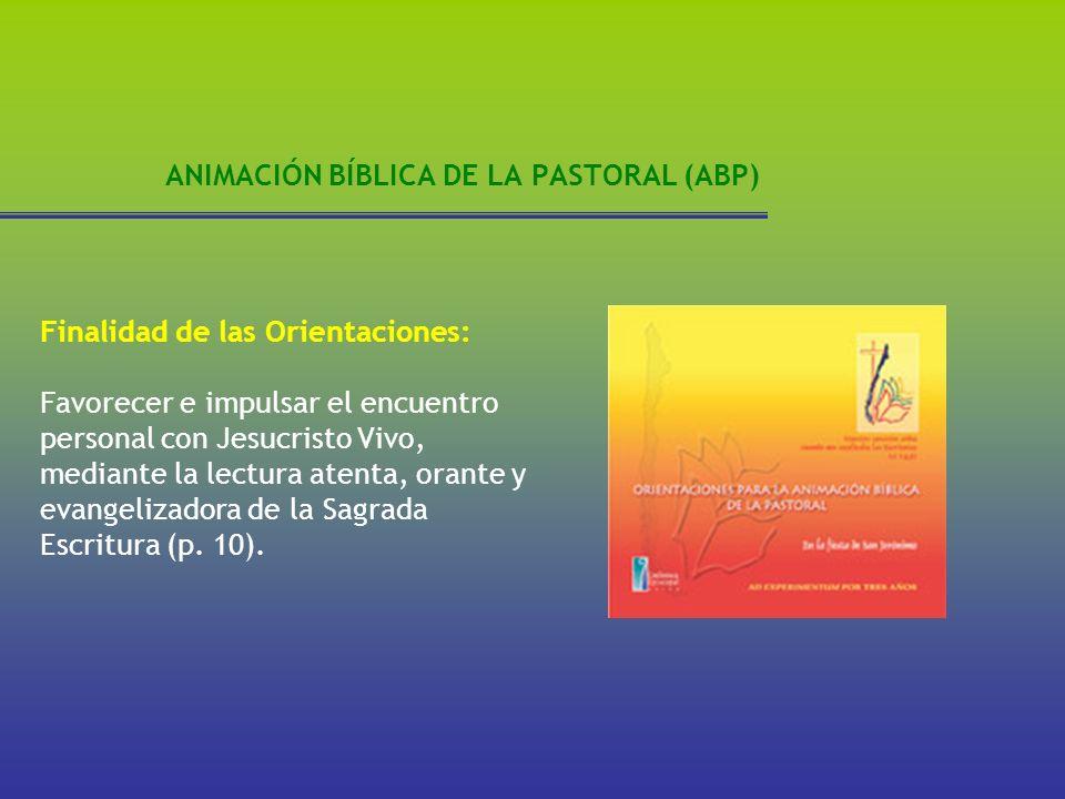 ANIMACIÓN BÍBLICA DE LA PASTORAL (ABP) Finalidad de las Orientaciones: Favorecer e impulsar el encuentro personal con Jesucristo Vivo, mediante la lec