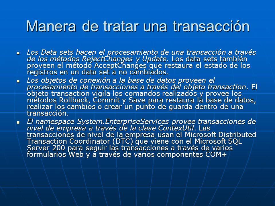 Manera de tratar una transacción Los Data sets hacen el procesamiento de una transacción a través de los métodos RejectChanges y Update.