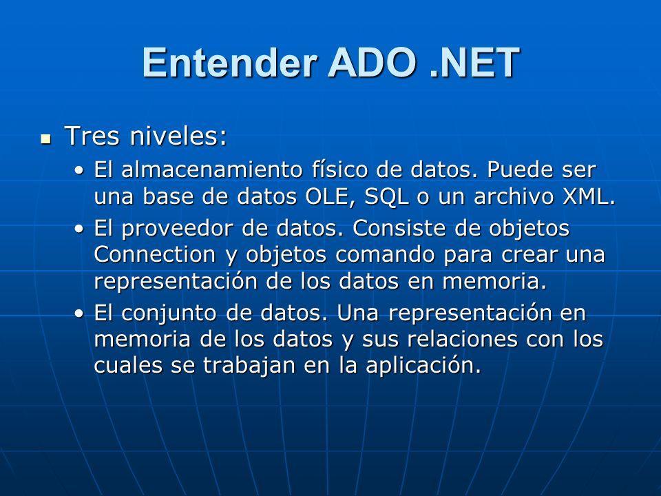 Entender ADO.NET Tres niveles: Tres niveles: El almacenamiento físico de datos.