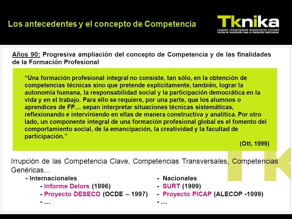 Años 90: Progresiva ampliación del concepto de Competencia y de las finalidades de la Formación Profesional Una formación profesional integral no cons