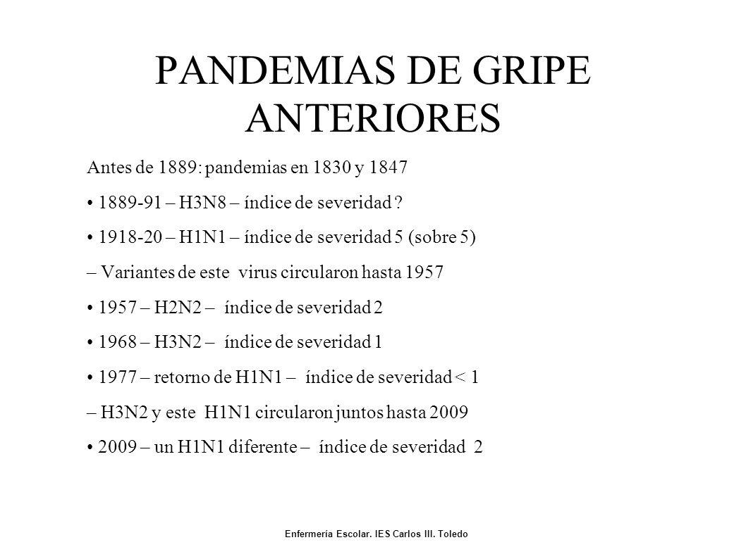 PANDEMIAS DE GRIPE ANTERIORES Antes de 1889: pandemias en 1830 y 1847 1889-91 – H3N8 – índice de severidad .