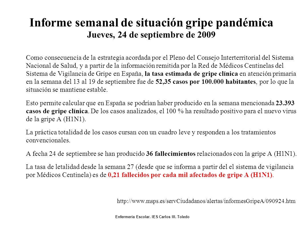 Informe semanal de situación gripe pandémica Jueves, 24 de septiembre de 2009 Como consecuencia de la estrategia acordada por el Pleno del Consejo Interterritorial del Sistema Nacional de Salud, y a partir de la información remitida por la Red de Médicos Centinelas del Sistema de Vigilancia de Gripe en España, la tasa estimada de gripe clínica en atención primaria en la semana del 13 al 19 de septiembre fue de 52,35 casos por 100.000 habitantes, por lo que la situación se mantiene estable.