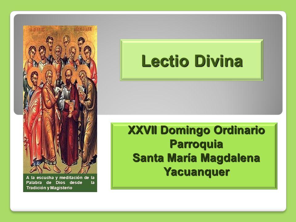 Lectio Divina XXVII Domingo Ordinario Parroquia Santa María Magdalena Yacuanquer A la escucha y meditación de la Palabra de Dios desde la Tradición y Magisterio