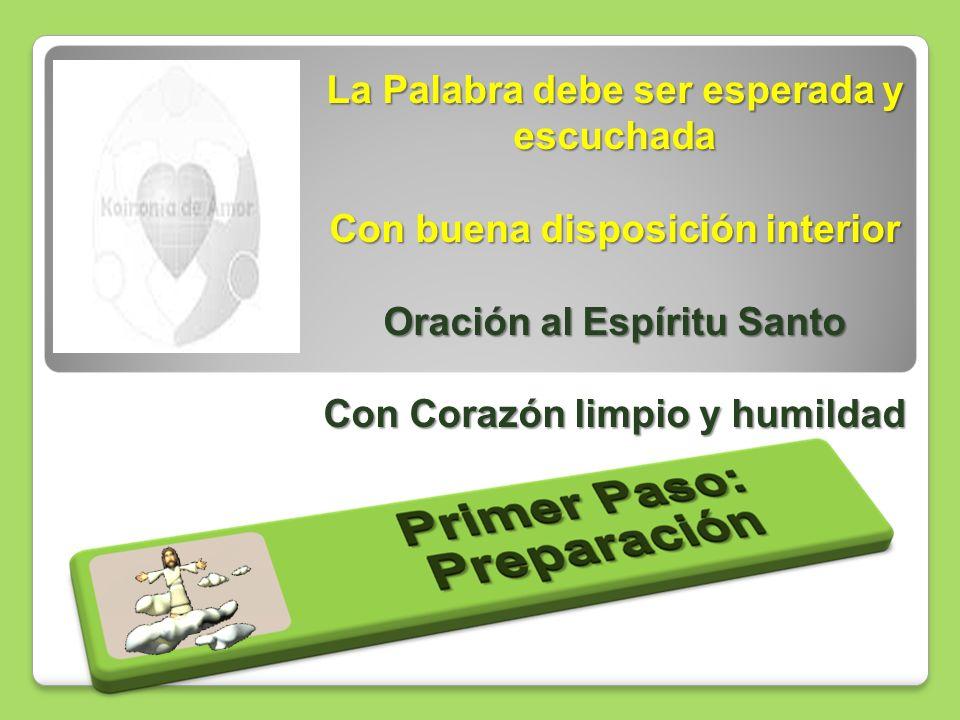 La Palabra debe ser esperada y escuchada Con buena disposición interior Oración al Espíritu Santo Con Corazón limpio y humildad