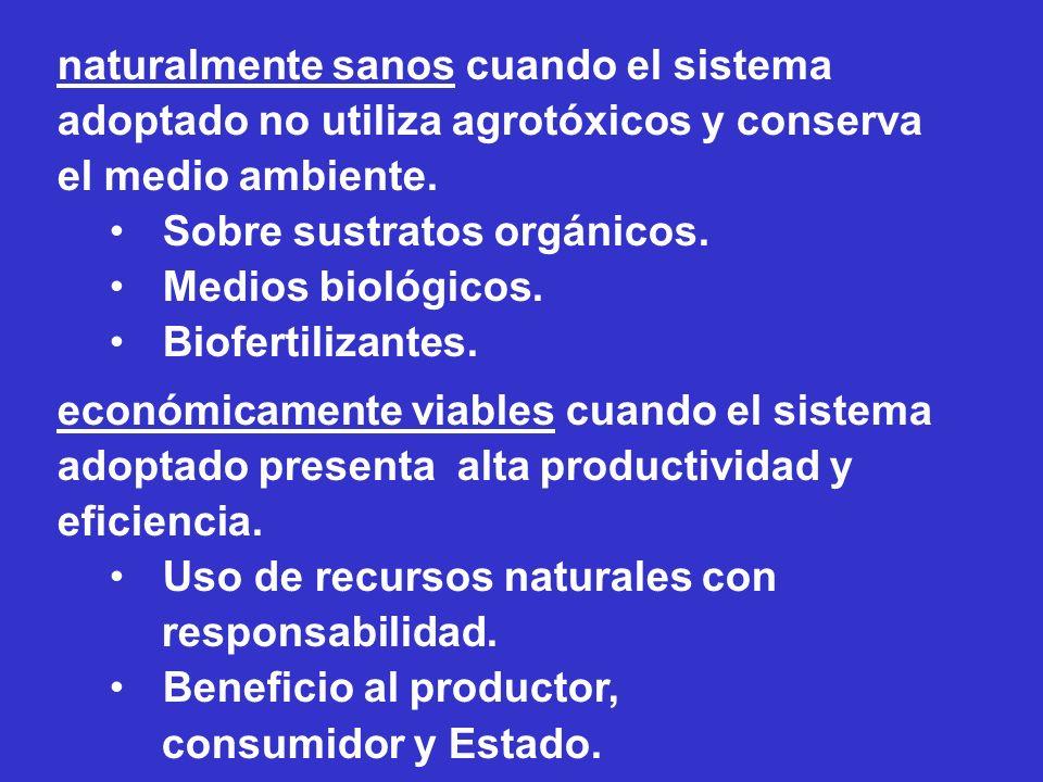 naturalmente sanos cuando el sistema adoptado no utiliza agrotóxicos y conserva el medio ambiente. Sobre sustratos orgánicos. Medios biológicos. Biofe