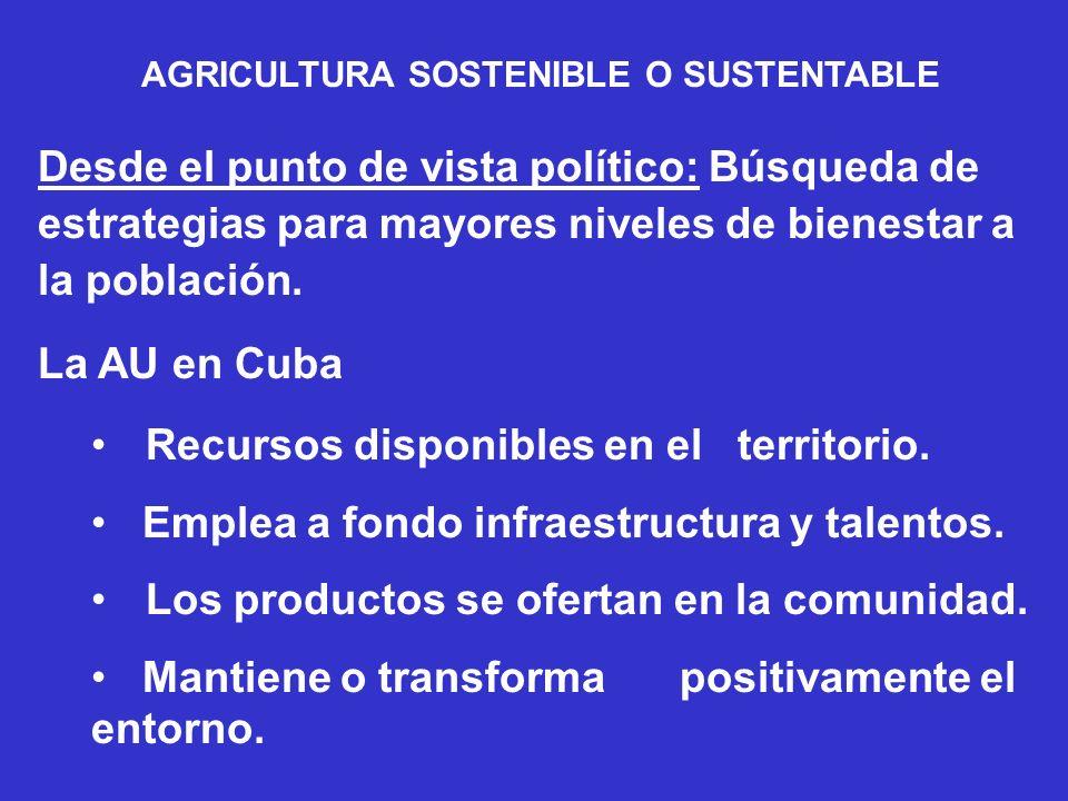 AGRICULTURA SOSTENIBLE O SUSTENTABLE Desde el punto de vista político: Búsqueda de estrategias para mayores niveles de bienestar a la población. La AU