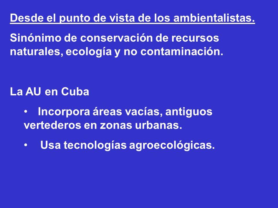 Desde el punto de vista de los ambientalistas. Sinónimo de conservación de recursos naturales, ecología y no contaminación. La AU en Cuba Incorpora ár