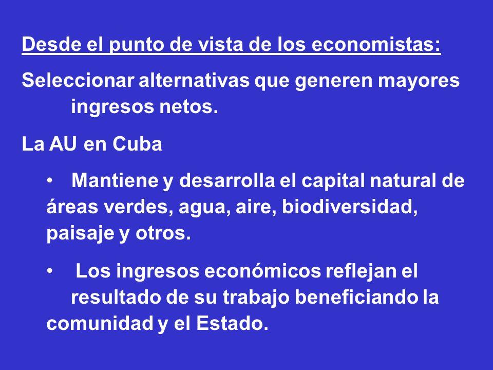 Desde el punto de vista de los economistas: Seleccionar alternativas que generen mayores ingresos netos. La AU en Cuba Mantiene y desarrolla el capita