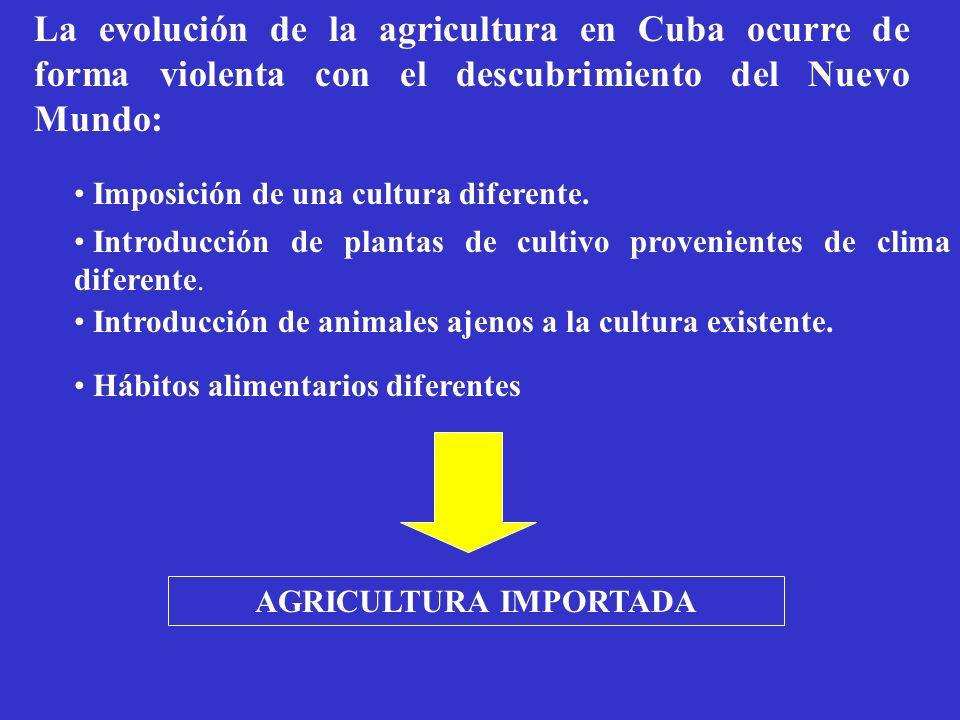 La evolución de la agricultura en Cuba ocurre de forma violenta con el descubrimiento del Nuevo Mundo: Imposición de una cultura diferente. Introducci