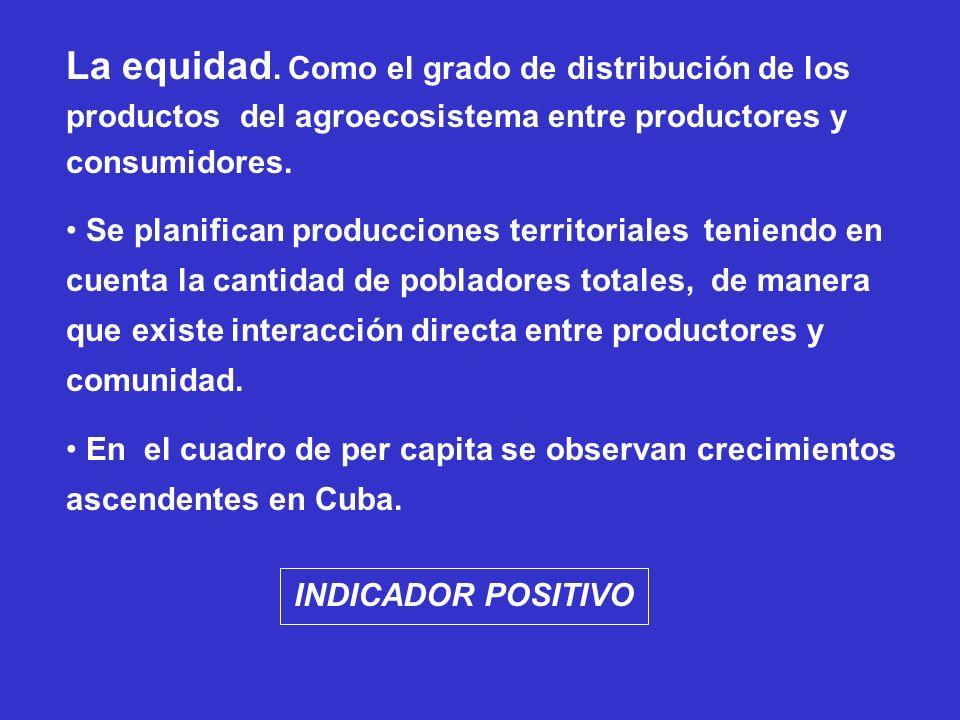 La equidad. Como el grado de distribución de los productos del agroecosistema entre productores y consumidores. Se planifican producciones territorial