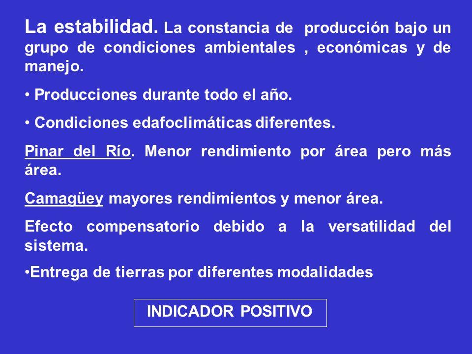 La estabilidad. La constancia de producción bajo un grupo de condiciones ambientales, económicas y de manejo. Producciones durante todo el año. Condic