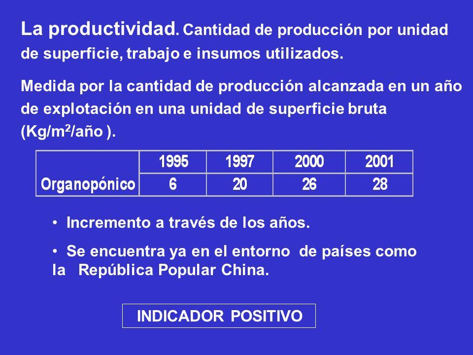La productividad. Cantidad de producción por unidad de superficie, trabajo e insumos utilizados. Medida por la cantidad de producción alcanzada en un