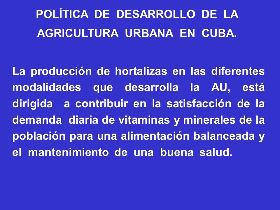 POLÍTICA DE DESARROLLO DE LA AGRICULTURA URBANA EN CUBA. La producción de hortalizas en las diferentes modalidades que desarrolla la AU, está dirigida